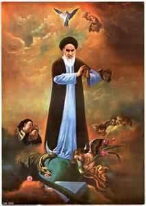 Khomeyni le Guide Supprême vénéré et auréolé presque comme une divinité