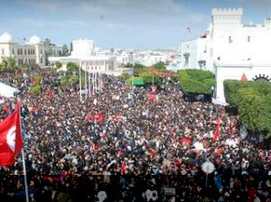 Manifestation le jour de la célébration du deuxième anniversaire de la révolution tunisienne