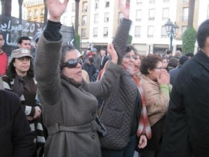 Khadija Riyadi lors de la manifestation du 2ème anniversaire du Mouvement 20 Février