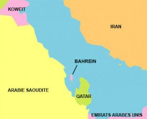 Situation du Bahrein dans le Golf