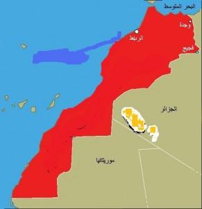 Carte de la zone frontalière du Maroc avec ses voisins