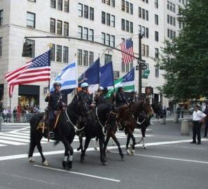 Manifestation sioniste à New-York le 10 juin 2013 En tête du cortège, le maire de la ville, Michael Bloomberg, des personnalités politiques de la ville et de l'Etat,