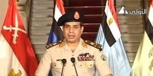Le Chef d'Etat Major et Ministre de la Défense, le Général Abdelfattah Sissi lors de son allocution télévisée ce soir à 21 h